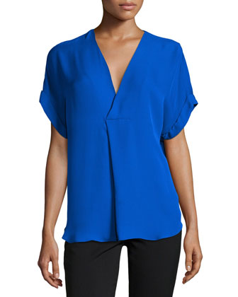 Short-Sleeve V-Neck Top, Bright Cobalt