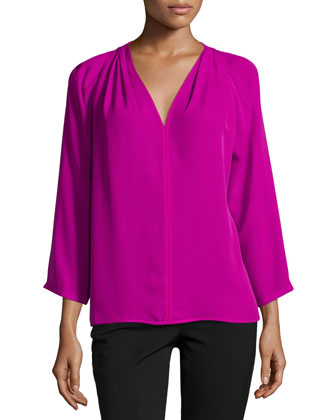 3/4-Sleeve V-Neck Top, Bright Magenta