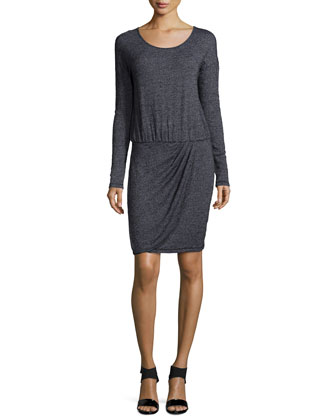 Long-Sleeve Pleated Draped Dress