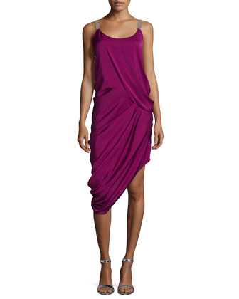 Sleeveless Draped Cocktail Dress, Plum