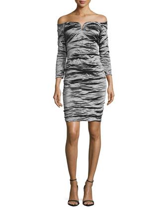 Off-the-Shoulder Ruched Cocktail Dress