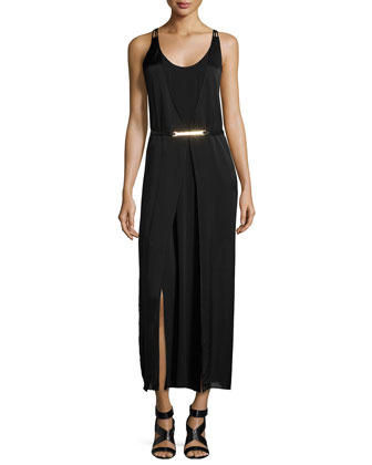 Sleeveless Belted Long Day Dress, Black