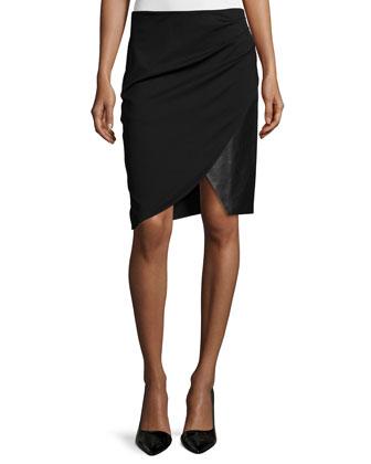 Draped Combo Pencil Skirt, Black