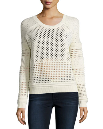 Long-Sleeve Perforated Sweater, Cream