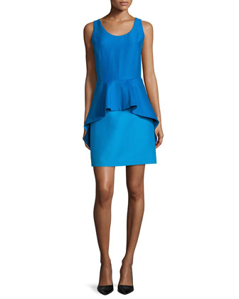 Sleeveless Peplum Cocktail Dress, Aqua