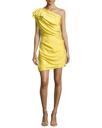One-Shoulder Gathered Cocktail Dress, Bamboo