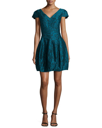 Cap-Sleeve Structured Cocktail Dress, Dark Pine