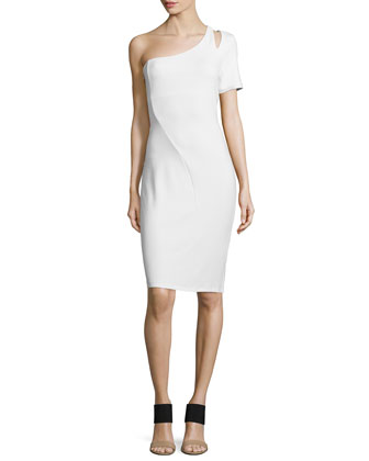 One-Shoulder Cutout Cocktail Dress, Off White