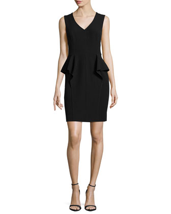 Sleeveless V-Neck Peplum Dress, Black