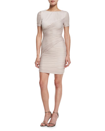 Short-Sleeve Jewel-Neck Ruched Dress, Beige