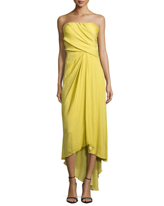 Strapless Pleated Evening Gown, Chartreuse