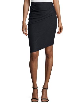 Pencil Skirt W/Asymmetric Hem, Coal
