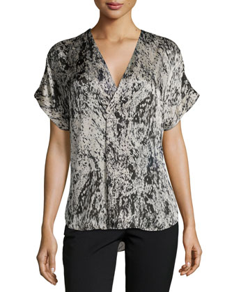 Short-Sleeve V-Neck Printed Top, Atcher