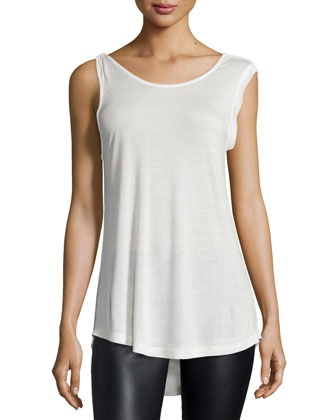 Sleeveless Cowl-Back Knit Top, Linen White