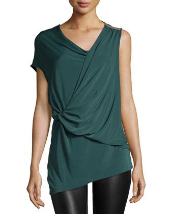 Embellished-Shoulder Drape-Front Top, Moss