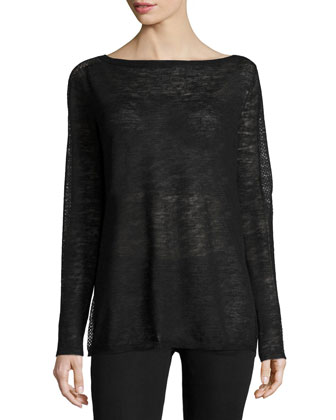 Long-Sleeve Bateau-Neck Sweater, Black