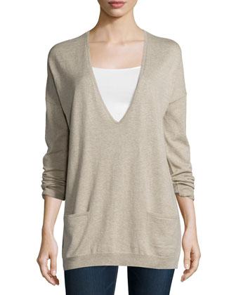 Long-Sleeve V-Neck Sweater, Heather Stone