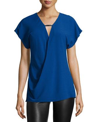Short-Sleeve V-Neck Top, Bright Indigo
