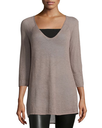 3/4-Sleeve V-Neck Sweater, Mauve