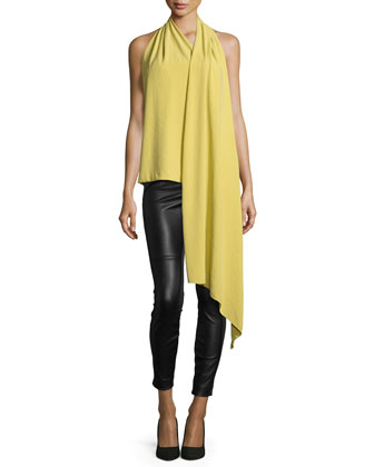 Sleeveless Drape-Front Top, Chartreuse