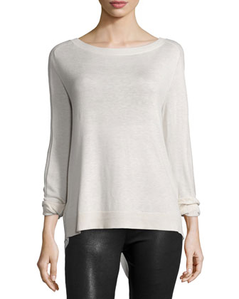 Long-Sleeve Flyaway-Back Sweater, Dark Bone