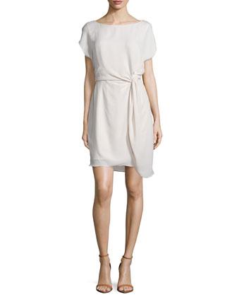 Short-Sleeve Twist-Front Dress, Dark Bone