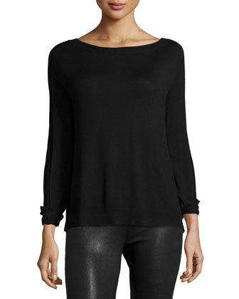 Long-Sleeve Flyaway-Back Sweater, Black