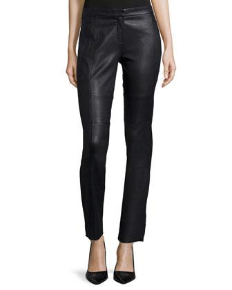 Mid-Rise Skinny Leather Pants, Black