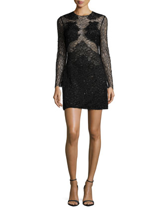 Long-Sleeve Embellished Lace Dress, Black