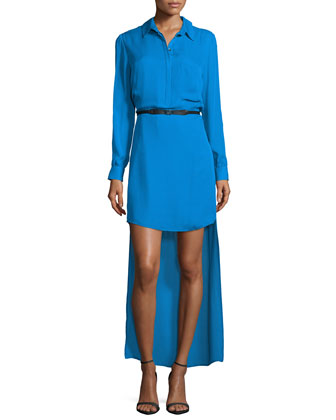 Long-Sleeve Belted High-Low Dress, Cerulean Blue