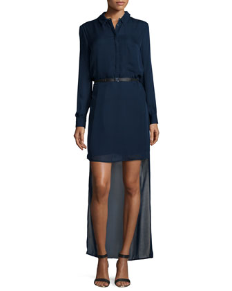 Long-Sleeve Belted High-Low Dress, Sapphire