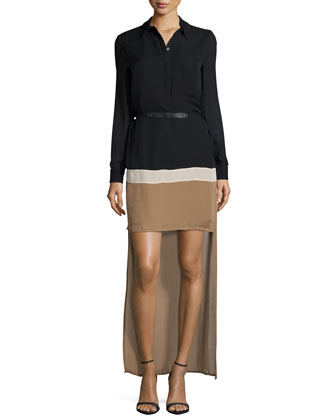 Long-Sleeve Belted Colorblock High-Low Dress, Black/Bone/Suntan