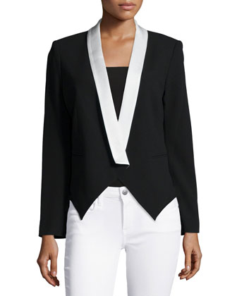 Boy Two-Tone Blazer, Black/Swan