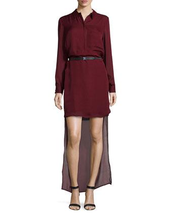 Long-Sleeve Belted High-Low Dress, Merlot