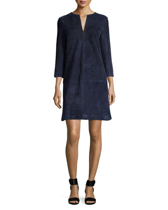 Split-Neck 3/4-Sleeve Suede/Knit Dress, Navy