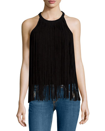 Jewel-Neck Suede Fringe Top