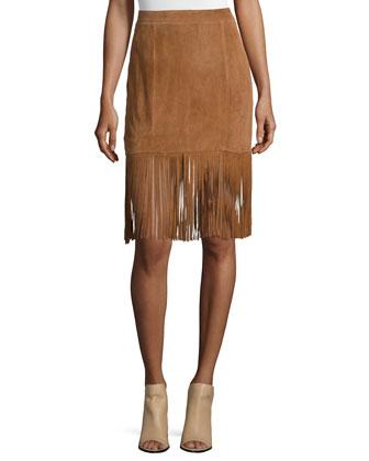 Suede Skirt W/Fringe Trim, Saddle