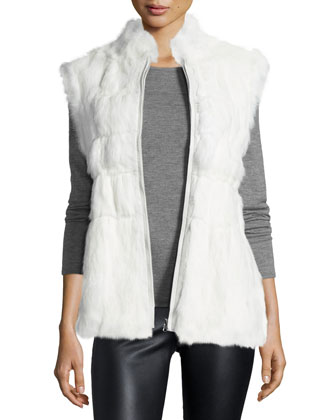Reversible Zip-Front Fur Vest, White