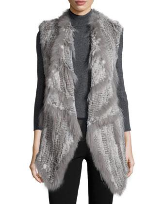 Rabbit/Coyote-Fur Long Vest, Gray Multi