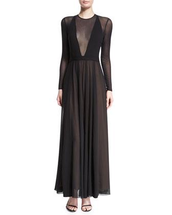 Long-Sleeve V-Neck-Illusion Flowy Dress