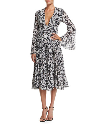 Long-Sleeve Pleated Midi Cocktail Dress
