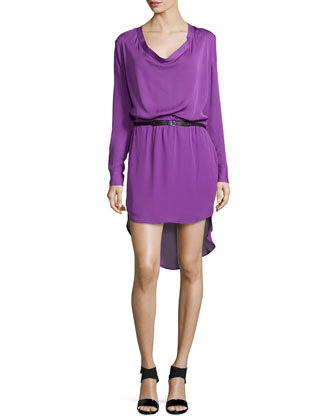 Long-Sleeve Cowl-Neck Shirtdress, Orchid