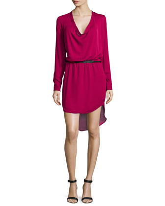 Long-Sleeve Cowl-Neck Shirtdress, Garnet
