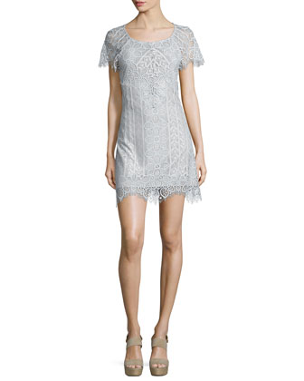 Lyla Lace Mini Dress, Silver