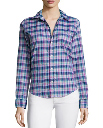 Barry Long-Sleeve Plaid Poplin Shirt, Navy/Purple/Green