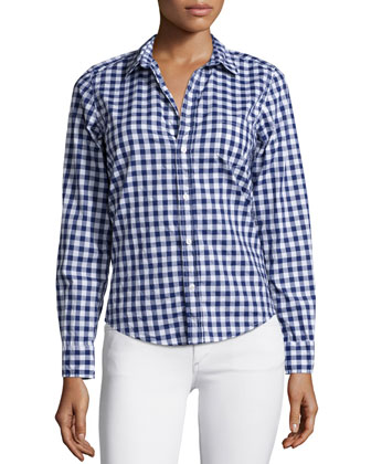 Barry Long-Sleeve Gingham Poplin Shirt, Navy