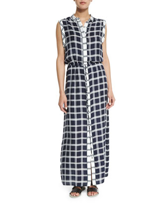 Isidora Plaid Maxi Dress, Navy
