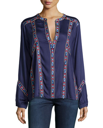Jens Embroidered Long-Sleeve Top, Navy