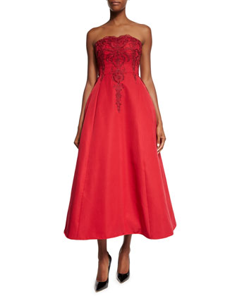 Strapless Beaded-Bodice Midi Gown