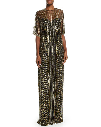 Embellished Metallic Caftan Gown, Black